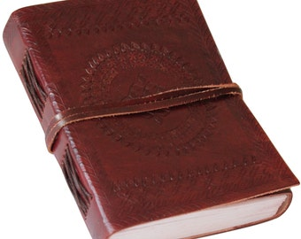 Classic Embossed Leather Journal Diary (Handmade) with leather strap closure - 10% off