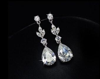 Bright Drop Pure Cubic Zirconia Earring wedding ~ Bridesmaids Gift