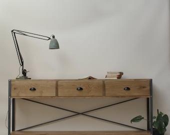 1.6m Oak INDUSTRIAL Sideboard, Console Drawers [Bespoke sizes!] Rustic Reclaimed