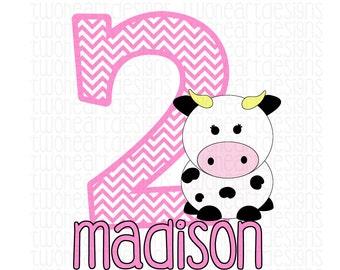 Farm Cow Birthday Name Age Iron On - Digital - You Print