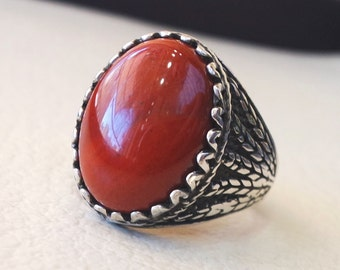 pure red jasper wheat man ring stone natural aqeeq gem sterling silver 925 ring  oval semi precious cabochon jewelry fast shipping all sizes