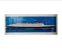 RMS Queen Elizabeth Cunard Line Ship Poster - Fantastic!