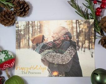 Gold Happy Holidays Christmas Card