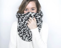 Large Chunky Knit Cowl Neck Warmer Two Tone | THE FRINK | Black & Fisherman