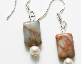 Jasper, pearl and silver earrings