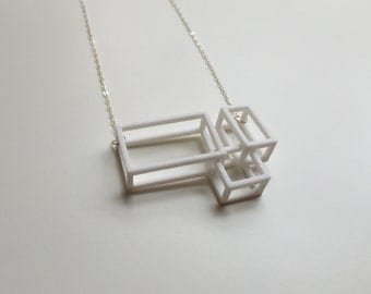 Winter I Necklace in White - Geometric Statement Jewelry - 3D printed