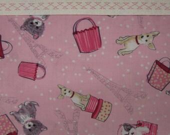 Pink Puppies in Paris with Eiffel Tower Paris Pillowcase or dog pillowcase or puppy pillowcase