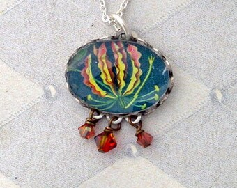Vintage Postage Stamp Jewelry: Flame Flower Pendant Necklace