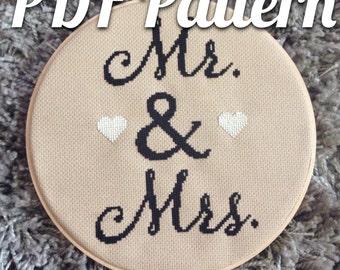PDF pattern | Mr & Mrs wedding | anniversary
