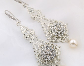 Crystal wedding earrings - India bridal earrings - Swarovski crystal - statement wedding earrings - crystal and pearl chandelier earrings