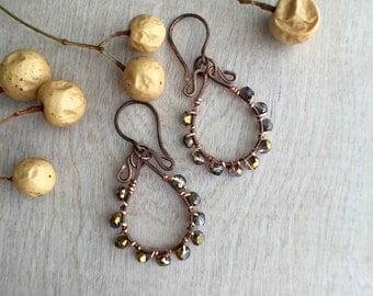 Wire wrapped earrings   Dangle earrings  Copper earrings  Artisan earrings Czech glass earrings  dangle earrings