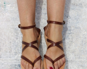 Leather Sandals - Gladiator style, handmade leather Sandals, Dark brown color - Full Grain Leather Women Sandals Gold color