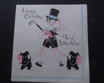 "Scottie Dog Happy Birthday Card Vintage 1940's  Paper Ephemera Boy with Top Hat ""LIttle Man"""