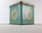 Tin Box Art Nouveau Blue Cookie Box with Floral Pattern