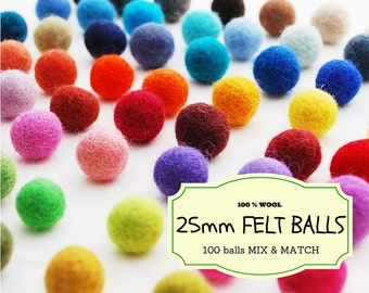 100 Wool Felt Beads, Mix and Match 25 mm/2.5 cm Wool Felt Balls, Multicolored Felted Balls in Bulk, Felted Beads, 100% Wool Felt Pom Poms