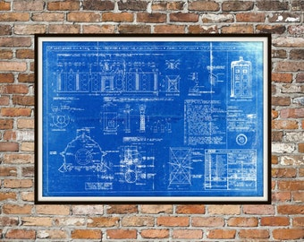 Tardis Print Poster Interior Dr Who Blueprint The Tardis Blueprint Interior Art of The Tardis, Whovian Gift - Police Box Print Art Item 0217
