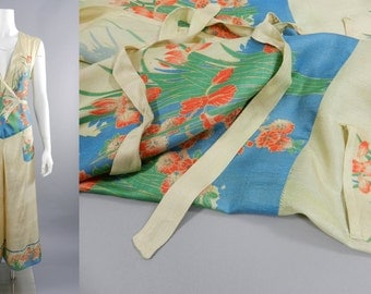 1920 / 1930 Pongee Silk Japanese Beach Pajamas - Art Deco