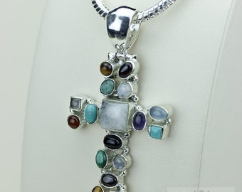 Moonstone Turquoise Amethyst 925 S0LID Sterling Silver Pendant + 4MM Snake Chain & Free Worldwide Shipping P3477