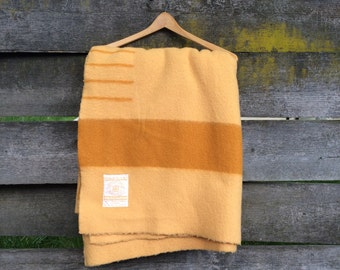 Vintage 1950's Hudson's Bay Yellow and Tan Wool Blanket Made in England
