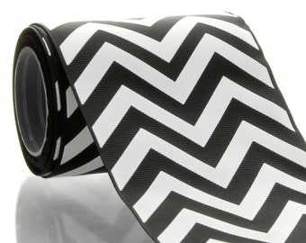 "3"" Black Chevron ZigZag Grosgrain Ribbon - 5yds"