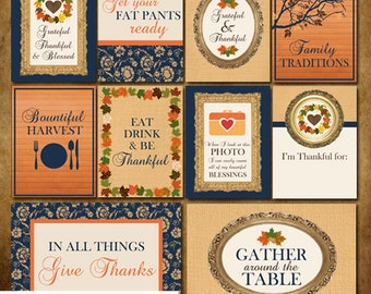 Thanksgiving Journaling Cards, Project Life Inspired Printable JPEG, Simple Stories, Digital, Instant Download, Thanksgiving, Turkey, Fall