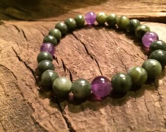 Jade and Amethyst Healing Gemstone Bracelet.  Serenity. Spiritual Development. Men's or Women's. Yoga. Mala.