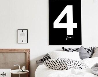 """Number 4 Nursery art, Scandinavian Design Wall Art, Black poster 70x100cm, 50x70cm, 24x36"""", A4"""