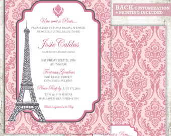 PARIS Bridal Shower Invitation // Damask Design // Wedding Shower// PRINTED Invites //Pink and Grey