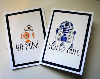 One Blank Valentine's Day Card // Star Wars Valentines Card // Star Wars Valentine Card // R2D2 BB8 Valentine Star Wars