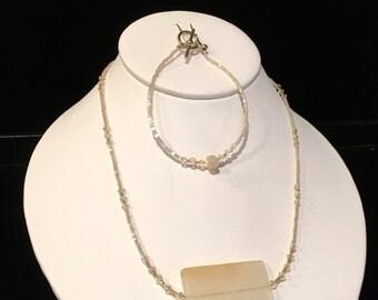 Cream Quartz and Swarovski Crystal Necklace and Bracelet Set