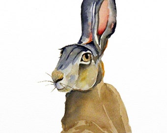 hare original watercolor painting easter bunny painting woodland painting 23x31cm (9x12inch)