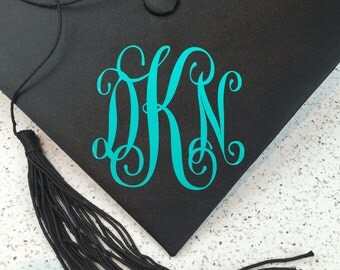 Graduation Cap Monogram Decal - 4 inches by 4 inches Script Vinyl Monogram Decal - Grad Cap Monogram - Grad Cap Decal - Monogram Decal