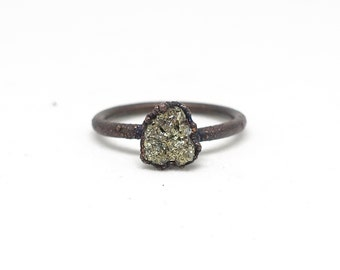 Pyrite ring | Fools gold ring | Gold pyrite ring | Electroformed jewelry | Raw ring