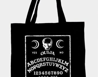 Black cotton tote bag with original illustration OUIJA,ecological ink