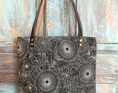 Black Floral Waxed Linen/Cotton Bag with Cognac Leather Bottom | Tote bag, Handbag, Horween Leather