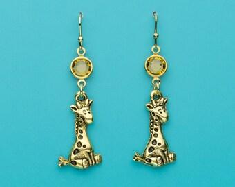 Giraffe Earrings, Cute Giraffe Earrings, Topaz Crystal Giraffe Earrings, Animal Earrings, Gifts for Her, 670
