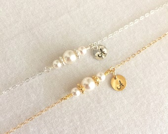 Initial Flower Girl Bracelet, Bridesmaid Bracelet, Bridal Bracelet, Little Girl Bracelet, Birthday Gift, Bridal Shower Gift, Pearl Bracelet