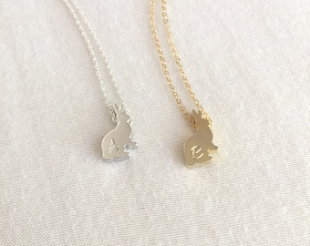 Personalized Sterling Silver Rabbit Necklace, Gold Rabbit, Rabbit Lover Gift, Pet Necklace, Initial Rabbit, Bunny Necklace, Bunny Charm