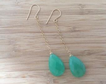 Chrysoprase Droplet Earrings