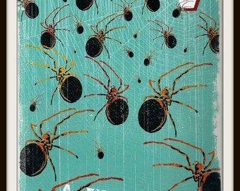 A Venom of Spiders Book Print (2011): Frameable Wall Art, Arachnid, Animal Picture, Collective Noun, Blue Black Brown White, Nature Decor