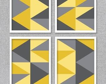 Printable Art, Abstract Modern Art, Printable Art Set, Abstract Prints, Geometric Prints, Yellow and Gray Art, Printable Wall Art