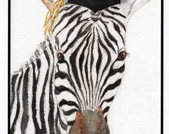 Graduation Zebra Card.  Card for Grads.  Congratulations Graduate Card.  Watercolor Zebra Card by StellaJaneCards.