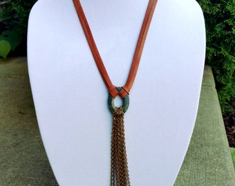 Leather and chain tassel necklace
