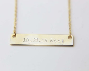 Personalized Date Necklace / Bridesmaid Gift / Gift for mom / Bar Necklace