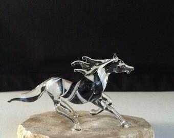 Handblown Glass Running Horse Sculpture