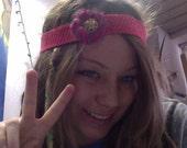 Pretty Pink Flower Jeweled Headband