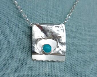 Lulworth Cove pendant, Amazonite, silver pendant, sterling silver pendant, textured silver, landscape pendant, OOAK pendant, made in Dorset