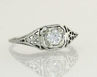 Antique Vintage Estate Art Deco .39ct Genuine Diamond 18K White Gold Engagement Ring 2.1g