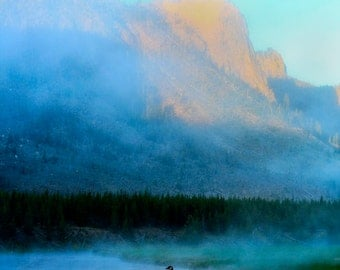 "Geese in Yellowstone Photographic Print, ""Morning Mist"","