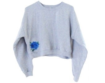 Rose Cropped Sweater-Cropped Sweater-Embroidered American Apparel Fleece Sweatshirt